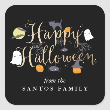 origamiprints Spooky Critters Halloween Square Sticker
