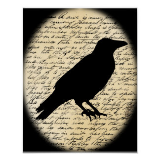 Spooky Crow on Aged Text Poster