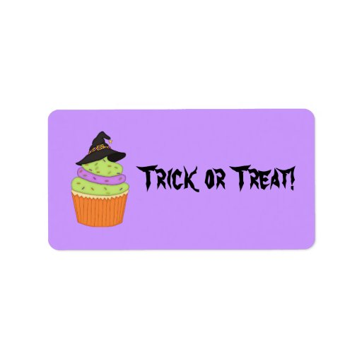 Spooky Cupcake/Halloween Goody-Bag Sticker Address Label