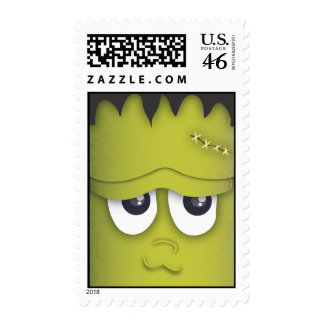Spooky Cute Green Monster Head Halloween Stamp