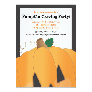 Spooky Cute Pumpkin Carving Halloween Party Card