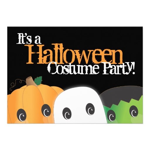 Spooky Cute Pumpkin Ghost Halloween Costume Party Invitations