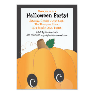 Spooky Cute Pumpkin Head Halloween Party 5x7 Paper Invitation Card
