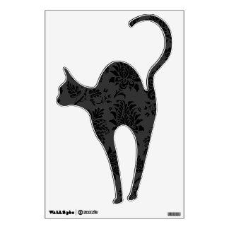 Spooky Damask Black Cat Wall Sticker