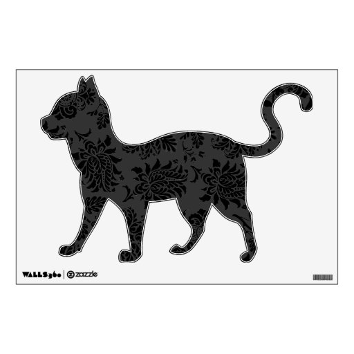 Spooky Damask Cat Wall Stickers