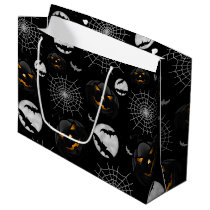 Spooky Dark Halloween Pattern Large Gift Bag
