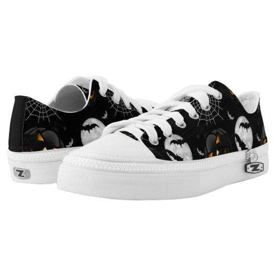 Spooky Dark Halloween Pattern Low-Top Sneakers