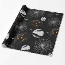 Spooky Dark Halloween Pattern Wrapping Paper