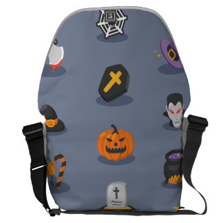 Spooky Detailed Colorful Halloween Pattern Messenger Bag