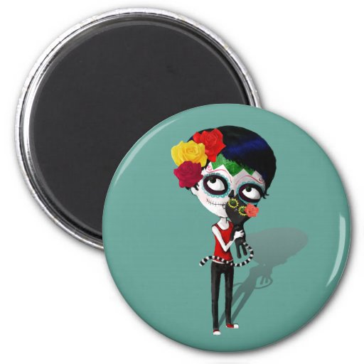 Spooky Dia de Los Muertos Girl 2 Inch Round Magnet