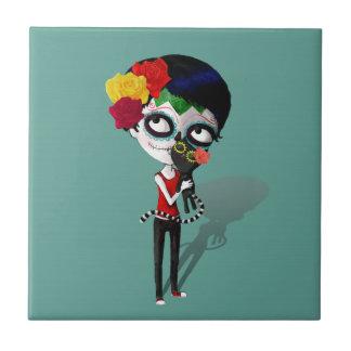 Spooky Dia de Los Muertos Girl Azulejo Cuadrado Pequeño