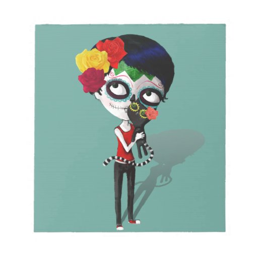 Spooky Dia de Los Muertos Girl Bloc De Papel
