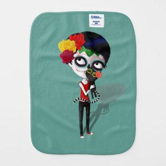 Spooky Dia de Los Muertos Girl Burp Cloth