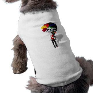 Spooky Dia de Los Muertos Girl Camisetas De Perro