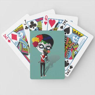 Spooky Dia de Los Muertos Girl Baraja Cartas De Poker