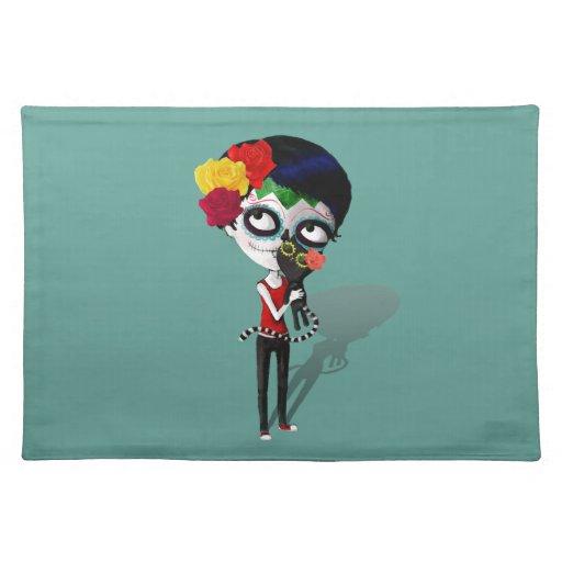 Spooky Dia de Los Muertos Girl Cloth Place Mat