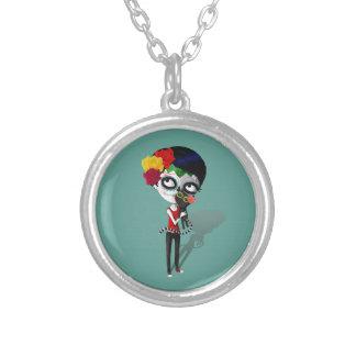 Spooky Dia de Los Muertos Girl Collares Personalizados