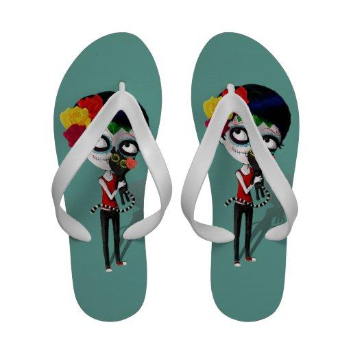 Spooky Dia de Los Muertos Girl Flip-Flops