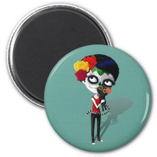 Spooky Dia de Los Muertos Girl Imán Redondo 5 Cm