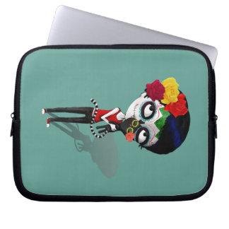 Spooky Dia de Los Muertos Girl Laptop Sleeves