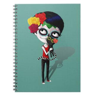 Spooky Dia de Los Muertos Girl Libro De Apuntes Con Espiral