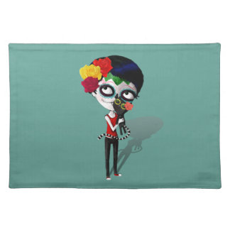 Spooky Dia de Los Muertos Girl Placemats