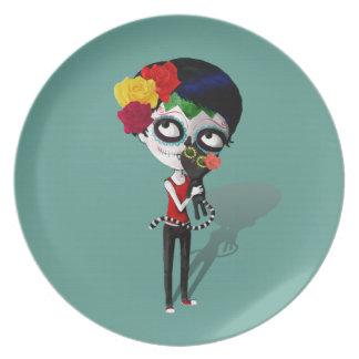 Spooky Dia de Los Muertos Girl Platos Para Fiestas