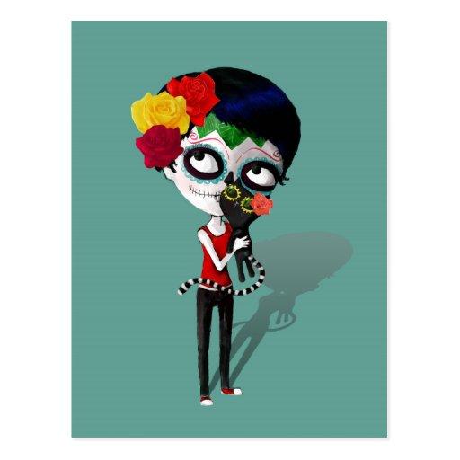 Spooky Dia de Los Muertos Girl Post Cards