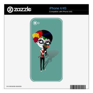 Spooky Dia de Los Muertos Girl Skin For iPhone 4S