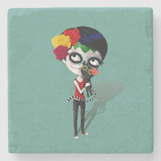 Spooky Dia de Los Muertos Girl Stone Coaster