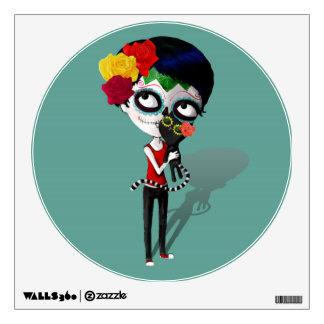 Spooky Dia de Los Muertos Girl Wall Graphic