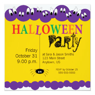 Spooky Eyes and Creepy Spider, Halloween Party Card