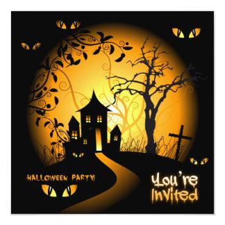 "Spooky Eyes Haunted House Invitation 5.25"" Square Invitation Card"