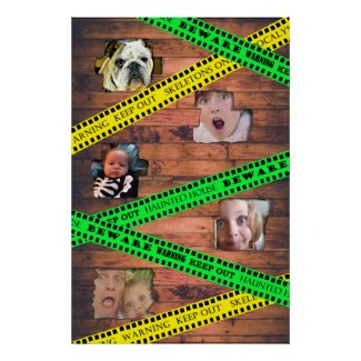 Spooky Family Photos Halloween Caution Tape Poster