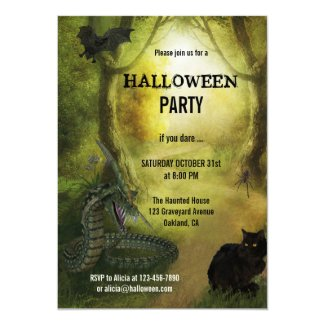 Spooky Fantasy Forest Halloween Party Invitation