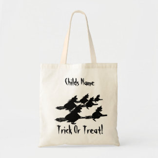 spooky flying witches00 broomsticks trick or treat tote bag