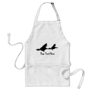spooky flying witches on broomsticks halloween adult apron