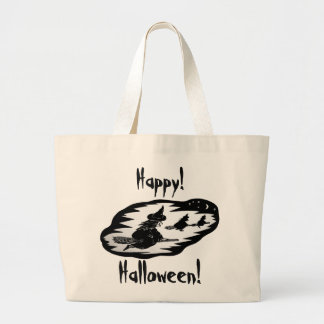 spooky flying witches on broomsticks halloween large tote bag