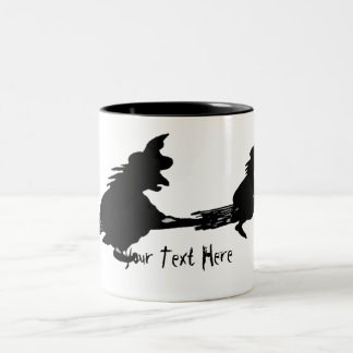 spooky flying witches on broomsticks halloween Two-Tone coffee mug