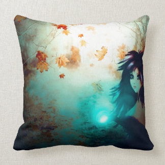 Spooky Forest and Dark Witch Throw Pillow