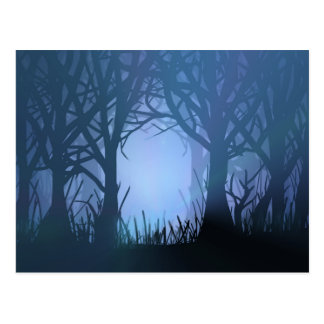 Spooky forest. postcard