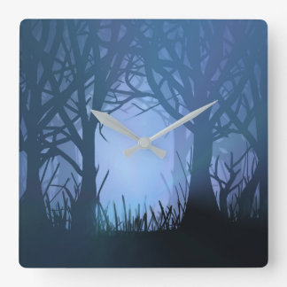 Spooky forest. square wall clock