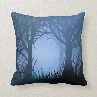 Spooky forest. throw pillow