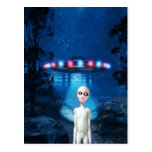 Spooky Forest UFO Close Encounter Postcard
