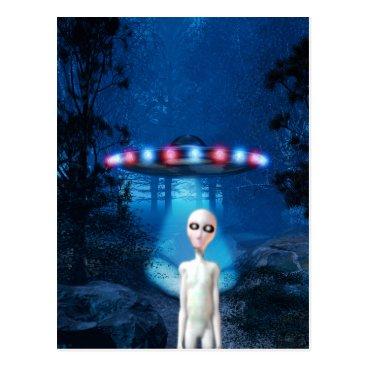 MDKgraphics Spooky Forest UFO Close Encounter Postcard