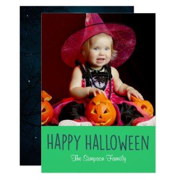 Halloween Themed Spooky Full Moon Happy Halloween Photo Card