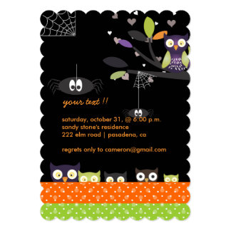 Spooky Fun Colorful Hoot Owls Holloween Party Card