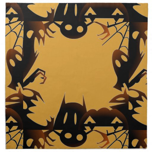 Spooky fun ghostly eyes orange halloween napkins zazzle for Halloween cloth napkins