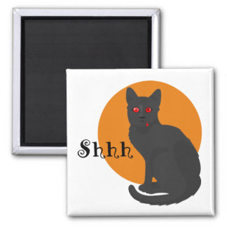Spooky Funny Black Cat - Halloween Favors 2 Inch Square Magnet