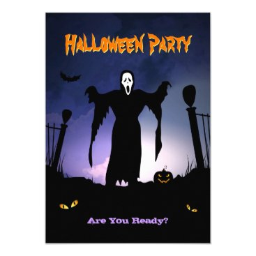 Halloween Themed Spooky Ghost Graveyard Pumpkin Halloween Party Card